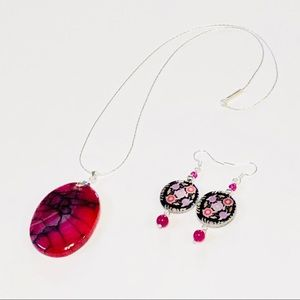 Hot Pink & Black Agate Necklace & Earrings Set
